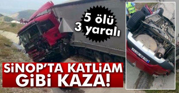 Sinop'ta katliam gibi kazada 5 kişi can verdi