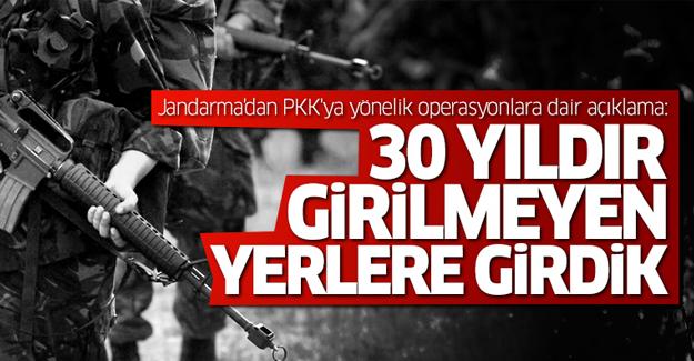 Jandarma'dan PKK'ya yönelik operasyonlara dair açıklama