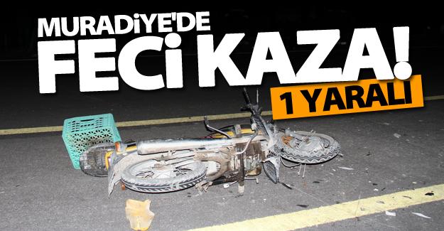 Muradiye'de motosiklet minibüse çarptı: 1 yaralı