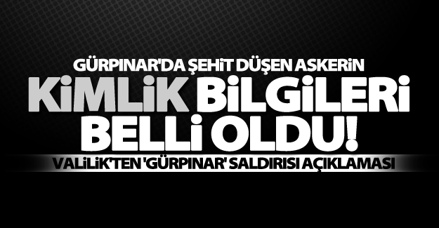 Van Gürpınar'da şehit olan askerin kimliği belli oldu