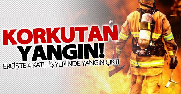 Erciş'te iş yeri yangını