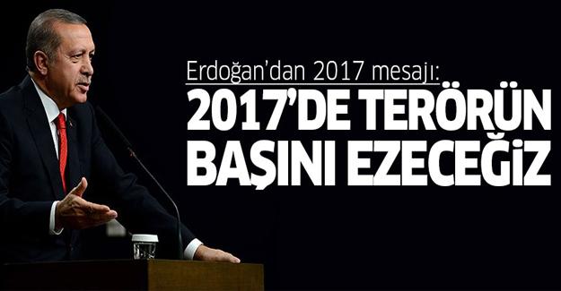 Erdoğan: 2017'de terör örgütlerinin başını ezeceğiz