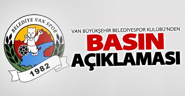 Van Büyükşehir Belediyespor kulübü'nden basın açıklaması