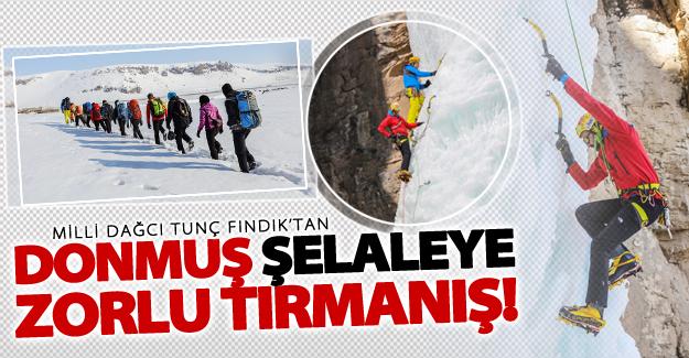 Milli dağcı Tunç Fındık, Van'da donmuş şelaleye tırmandı