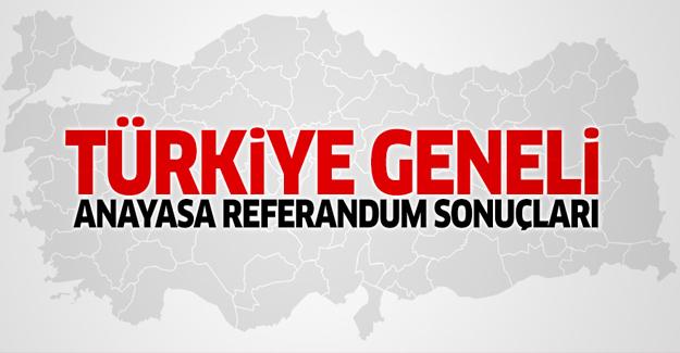 Türkiye geneli 2017 anayasa referandum sonuçları