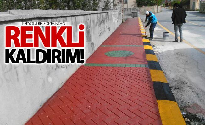 İpekyolu Belediyesinden renkli kaldırım çalışması