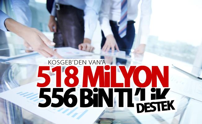 KOSGEB'den Van'a 518 milyon 556 bin TL'lik destek