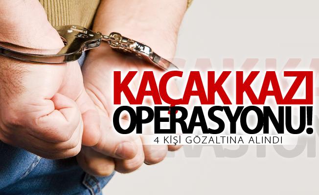 Van'da ahırda kaçak kazı yapan 4 kişi yakalandı