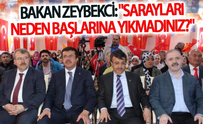 """Bakan Zeybekci: """"Sarayları neden başlarına yıkmadınız?"""""""