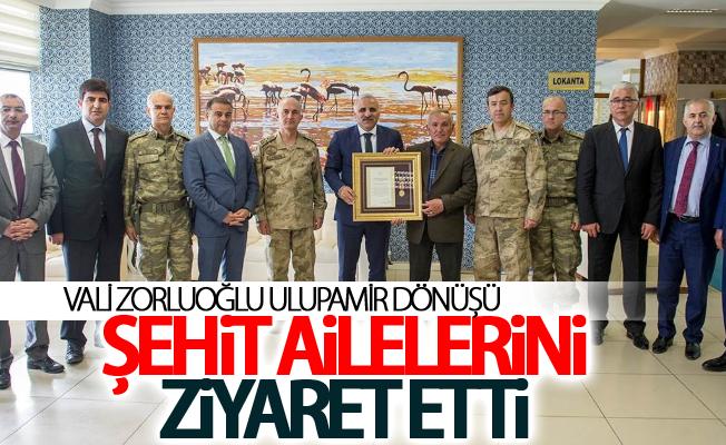 Vali Zorluoğlu Ulupamir dönüşü şehit ailelerini ziyaret etti