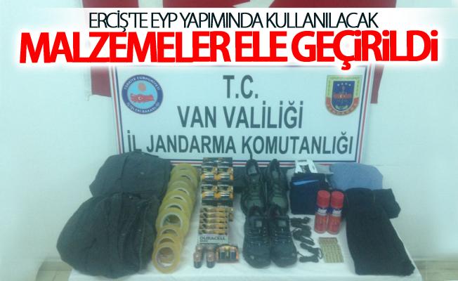 Erciş'te EYP Yapımında kullanılacak malzemeler ele geçirildi