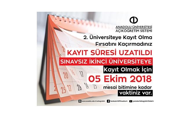 Açıköğretim 'ikinci üniversite' kayıtları uzatıldı