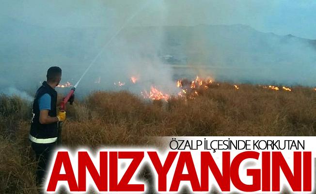 Özalp ilçesinde korkutan anız yangını