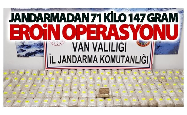 Jandarmadan 71 kilo 147 gram eroin operasyonu