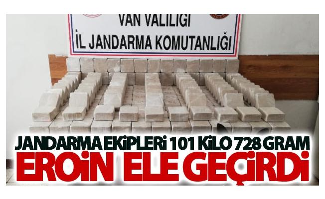 Jandarma ekipleri 101 kilo 728 gram eroin  ele geçirdi