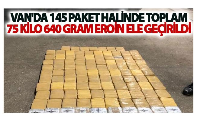 Van'da 145 paket halinde toplam 75 Kilo 640 Gram Eroin ele geçirildi