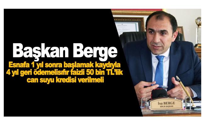 Başkan Berge: Esnafa vergi indirimi ve özel tarife uygulanmalıdır