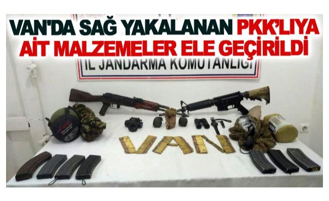 Van'da sağ yakalanan Pkk'lıya ait malzemeler ele geçirildi