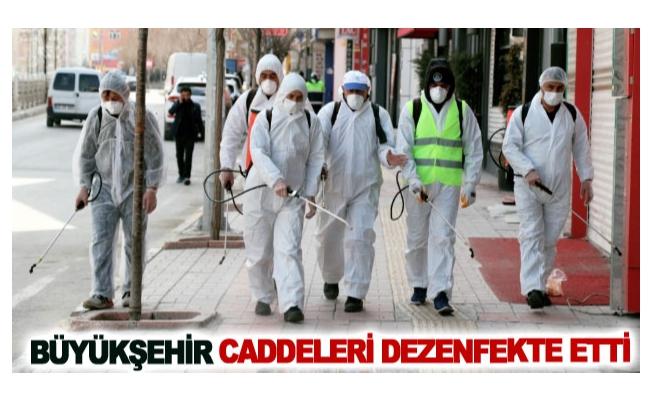 Büyükşehir caddeleri dezenfekte etti