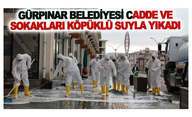 Gürpınar Belediyesi cadde ve sokakları köpüklü suyla yıkadı