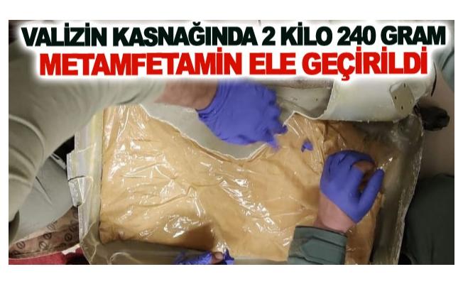 Valizin kasnağında 2 kilo 240 gram metamfetamin ele geçirildi