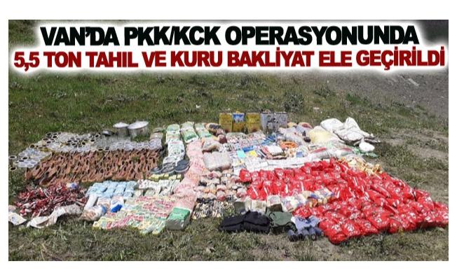 Van'da PKK/KCK operasyonunda 5,5 ton tahıl ve kuru bakliyat ele geçirildi