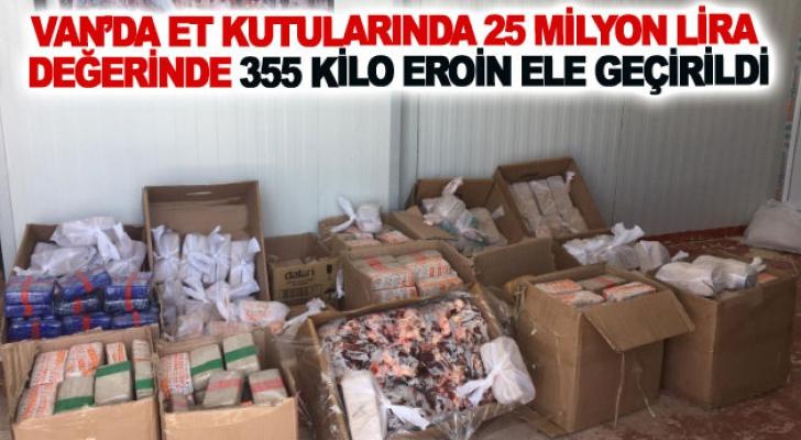 Van'da et kutularında 25 milyon lira değerinde 355 kilo eroin ele geçirildi