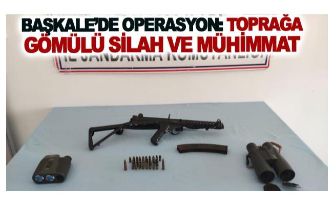 Başkale'de operasyon: toprağa gömülü vaziyette silah ve mühimmat