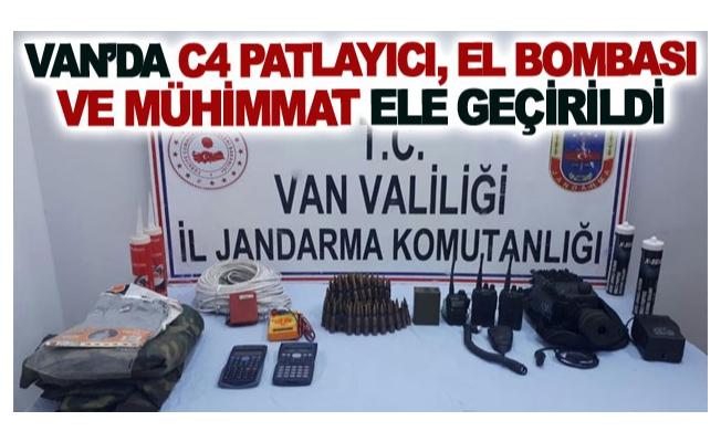 Van'da C4 patlayıcı, el bombası ve mühimmat ele geçirildi