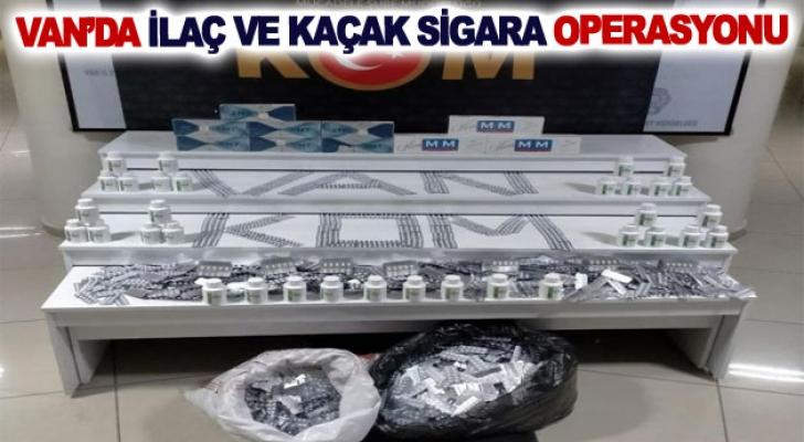 Van'da ilaç ve kaçak sigara operasyonu